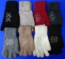 Перчатки женские однотонные со стразами