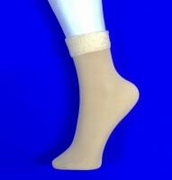 Носки бежевые внутри с мехом без пятки