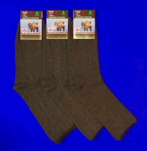 Термоноски мужские верблюжья шерсть с ангорой со слабой резинкой г.Москва м-8 коричневые