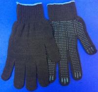 Перчатки рабочие хб с ПВХ - 10 класс, 4-х нитка ЧЕРНЫЕ