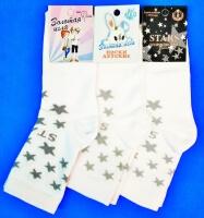 Золотая игла носки подростковые с-401-Д белые Звезды