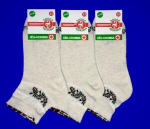 Лечебные женские носки со слабой резинкой лен с крапивой