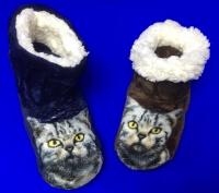 """Носки-тапочки сапожки женские с мехом """"Кошка"""" высокие"""