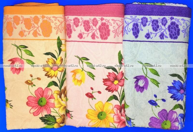Полотенца махровые банные  Цветы оптом