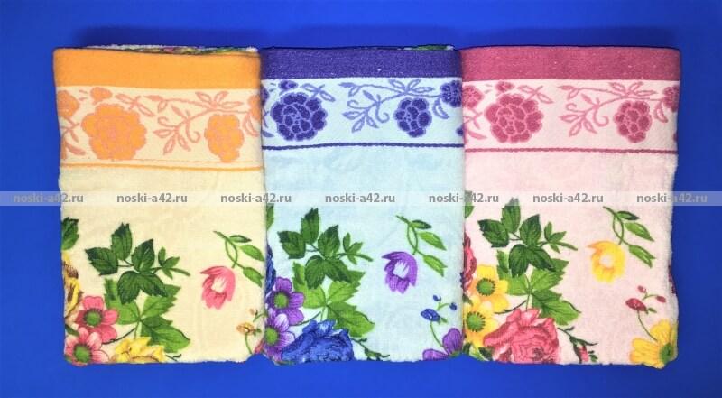 Полотенца махровые Цветы для лица оптом