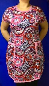 Платья-туники женские с карманами из 100% хлопка
