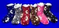 Носки-тапочки-сапожки женские высокие с мехом Олени