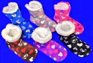Носки-тапочки САПОЖКИ женские с мехом Сердечки высокие