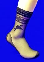 Носки женские эластик черные уплотненные с рисунком