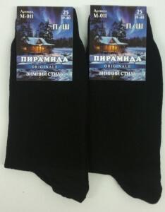 Пирамида носки мужские М-011 тонкая шерсть чёрные