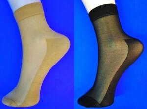 Носки женские эластик бежевые с пяткой