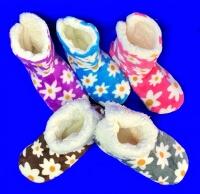 Носки-тапочки-сапожки женские с мехом Цветы высокие