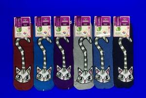 """Носки женские """"Кошка"""" внутри махра"""