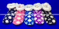 Носки-тапочки сапожки женские с мехом Снежинки высокие